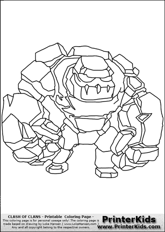 coloring page coloring page with a golem from clash of clans app